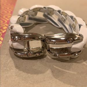 White and silver with crystals, bracelet